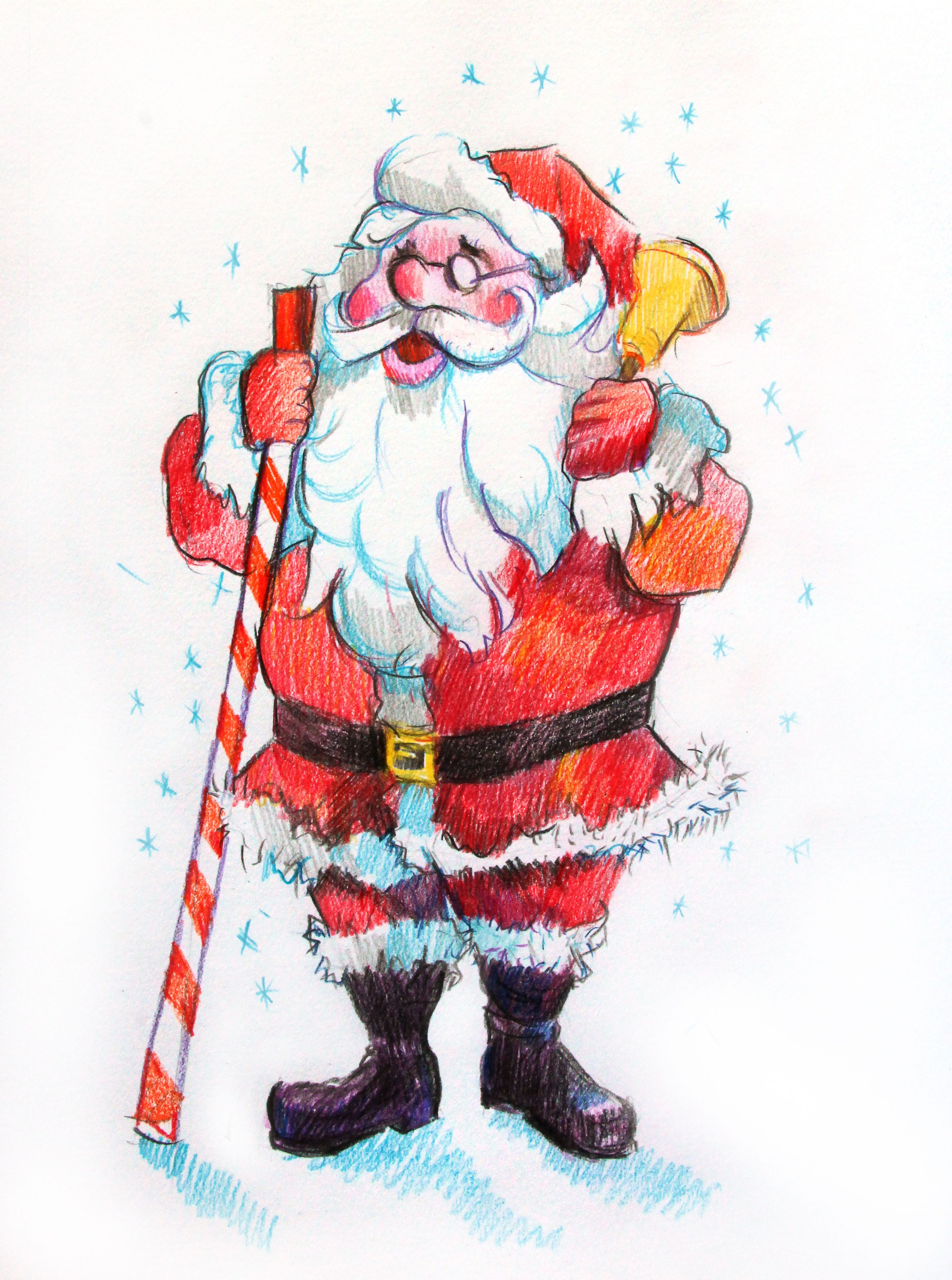how to draw santa claus with colored pencils art lesson with natalka barvinok how to draw santa drawings santa claus drawing how to draw santa claus with colored