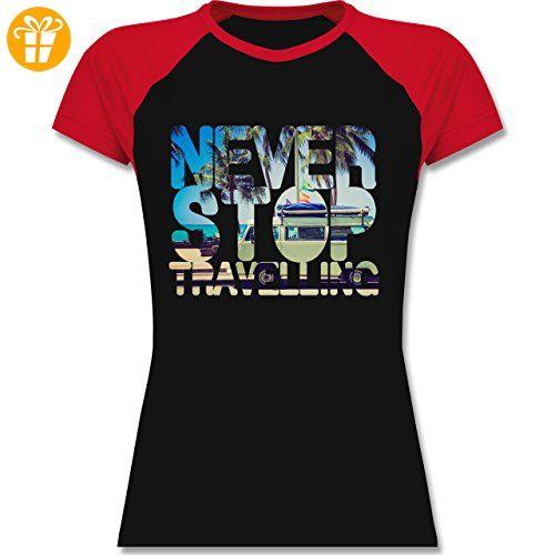 Statement Shirts - Never Stop Travelling Meer Palmen - S - Schwarz/Rot - -  zweifarbiges Baseballshirt / Raglan T-Shirt für Damen - Shirts mit spruch  ...
