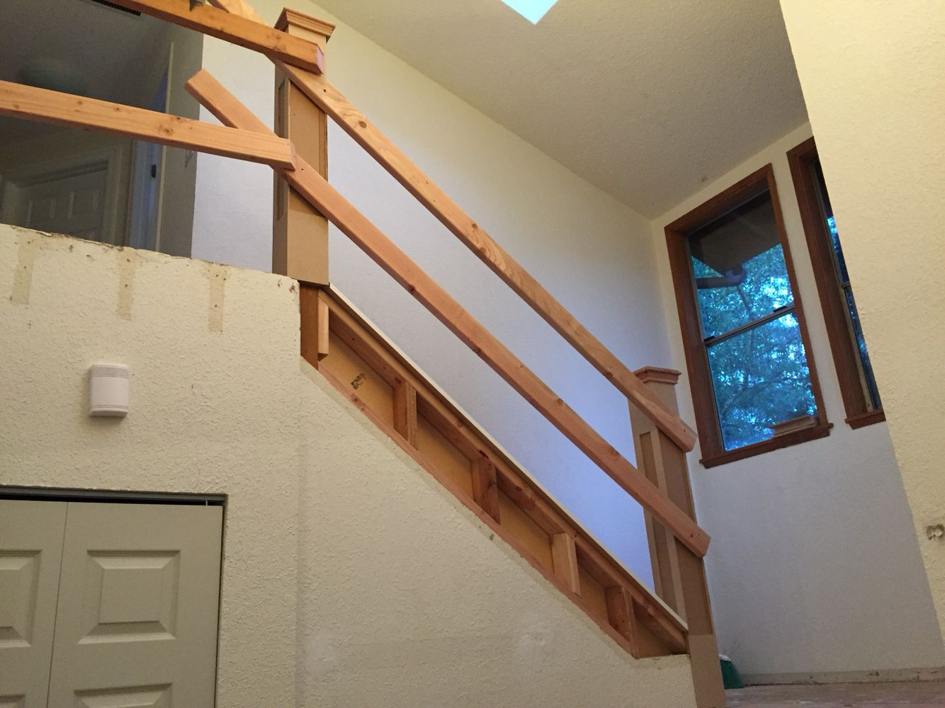 Newel Posts Made Out Of Mdf With 4X4 Core Temp 2X4 Railing For | 2X4 Railing For Stairs | Solid Wood | 6 Foot | Stairway | Temporary | Natural Hardwood