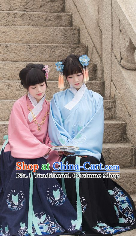 Chinese Ancient Han Fu Suit and Hair Jewelry Complete Set