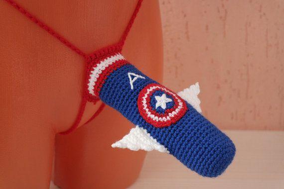 9cc9a385506eb American flag Sexy Men's Thong, Men Captain America thong, Crochet ...