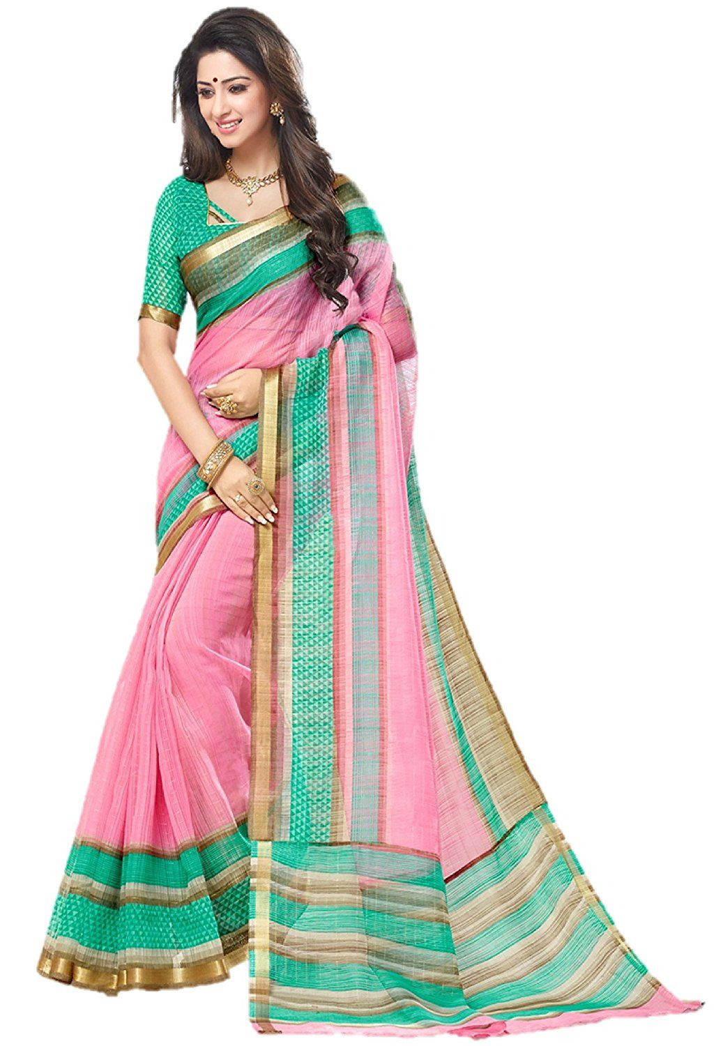 82bb080319 Miraan Women's Silk Saree With Blouse Piece (SRH131_pink_One Size): Amazon.in:  Clothing & Accessories