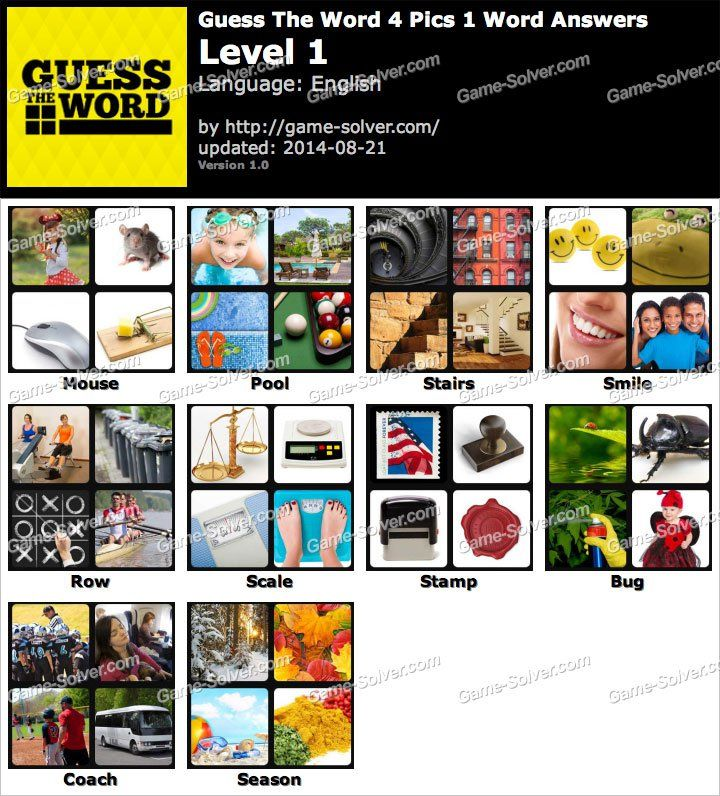 Guess The Word 4 Pics 1 Word Level 1 myself Pinterest