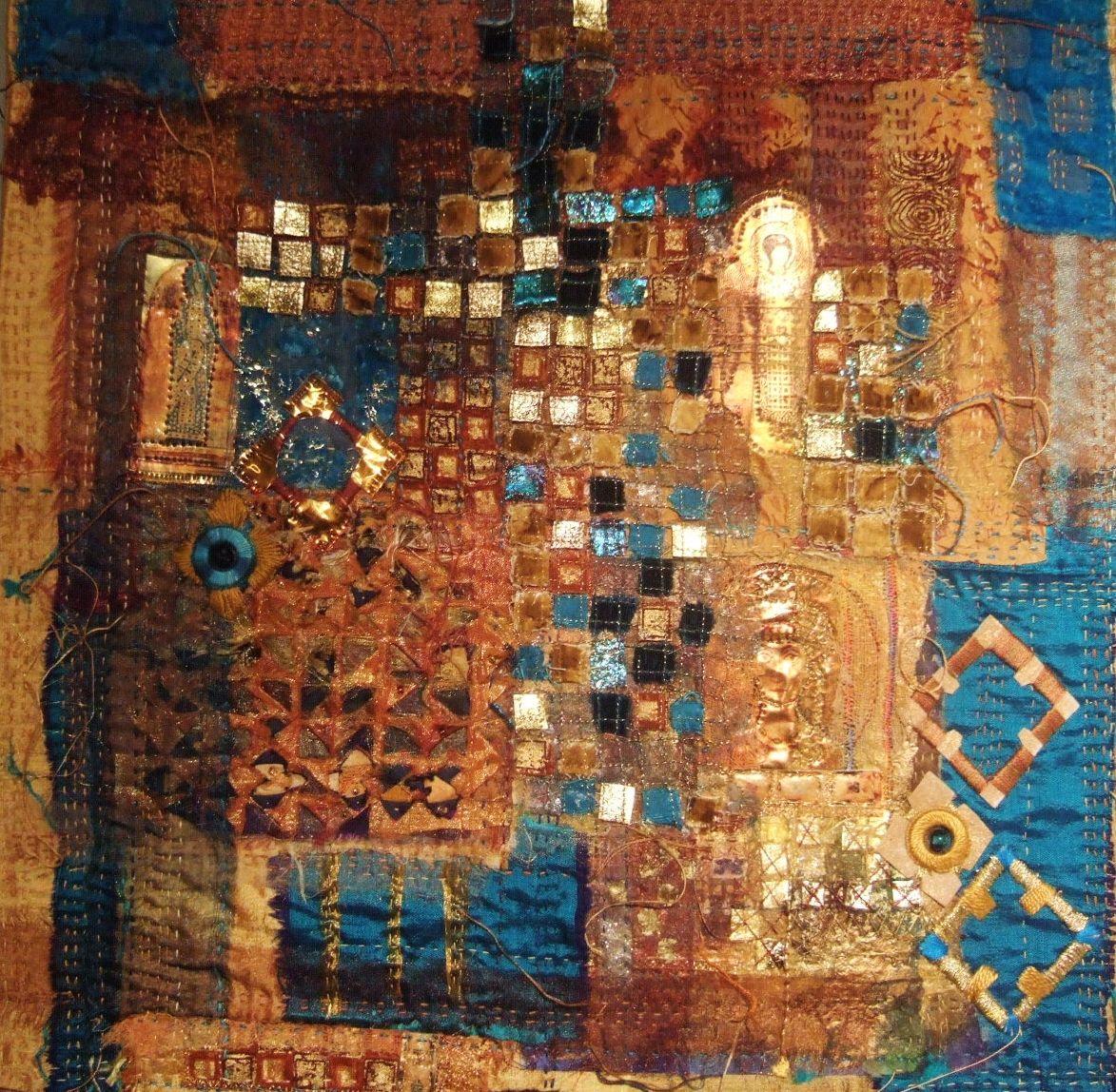 Hand and machine embroidery based on Byzantine mosaics