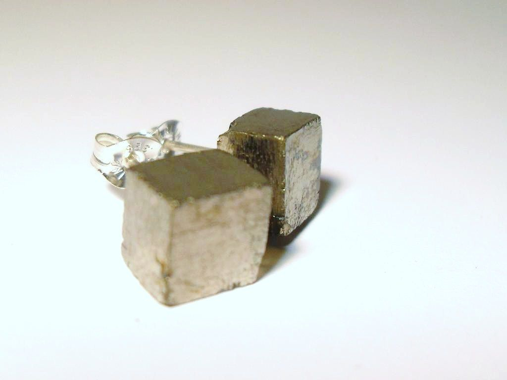 Raw Pyrite Cube Sterling Silver Stud Earrings. $26,00, via Etsy.