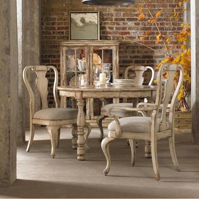 Wakefield Round Dining Table In Distressed Taupe With Cherry And Pine