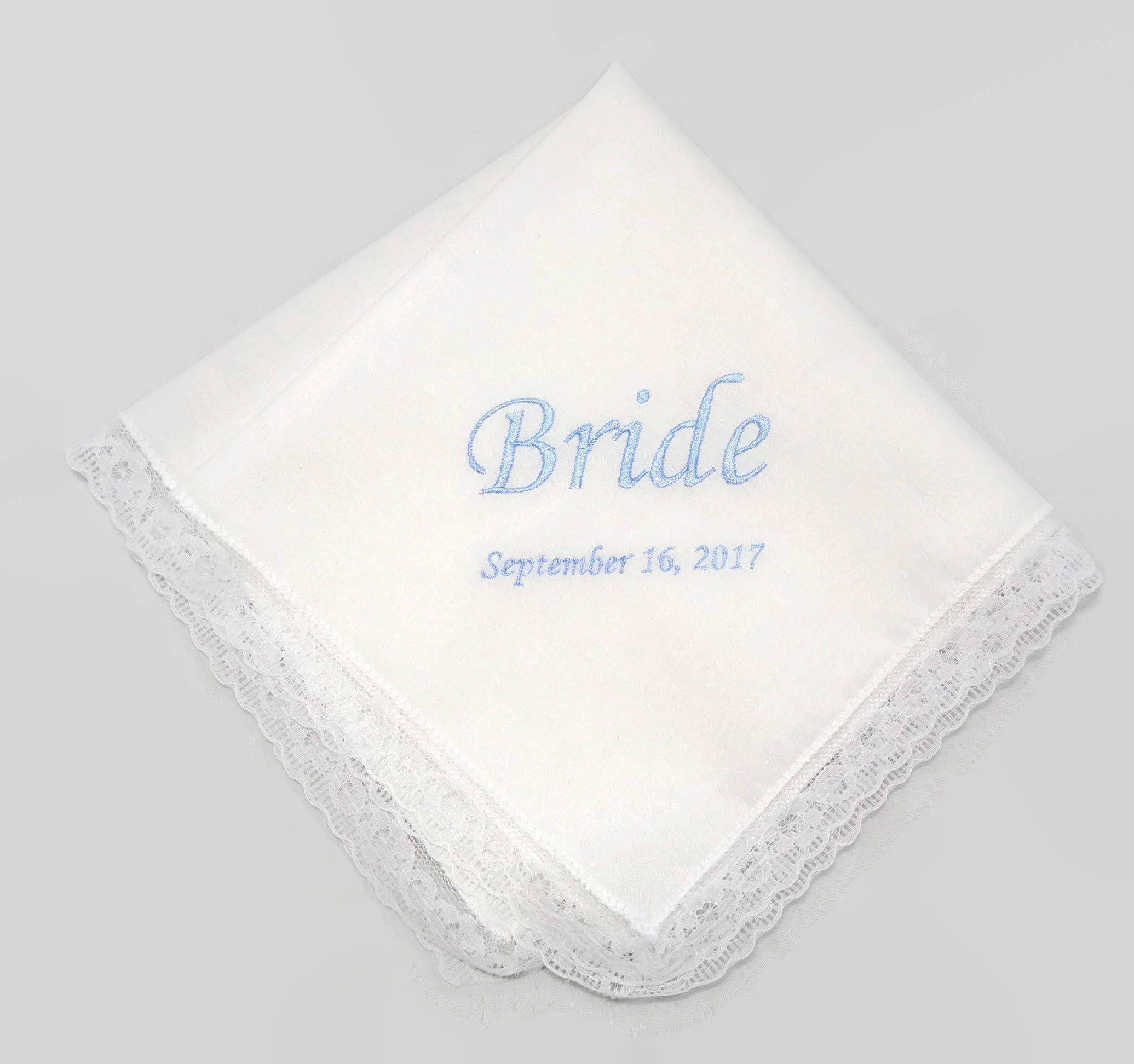Something Blue Embroidered handkerchief, bride handkerchief ...