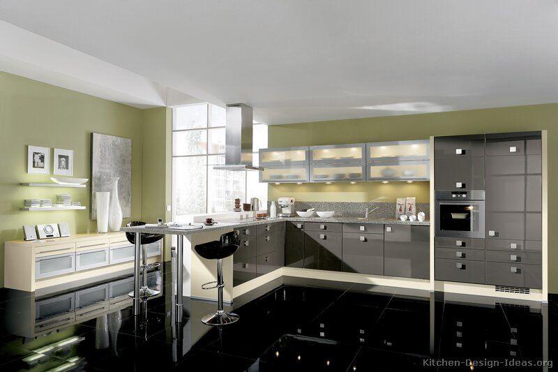 Pictures Of Kitchens Modern Gray Kitchen Cabinets Modern Grey Kitchen Kitchen Design Black And Grey Kitchen