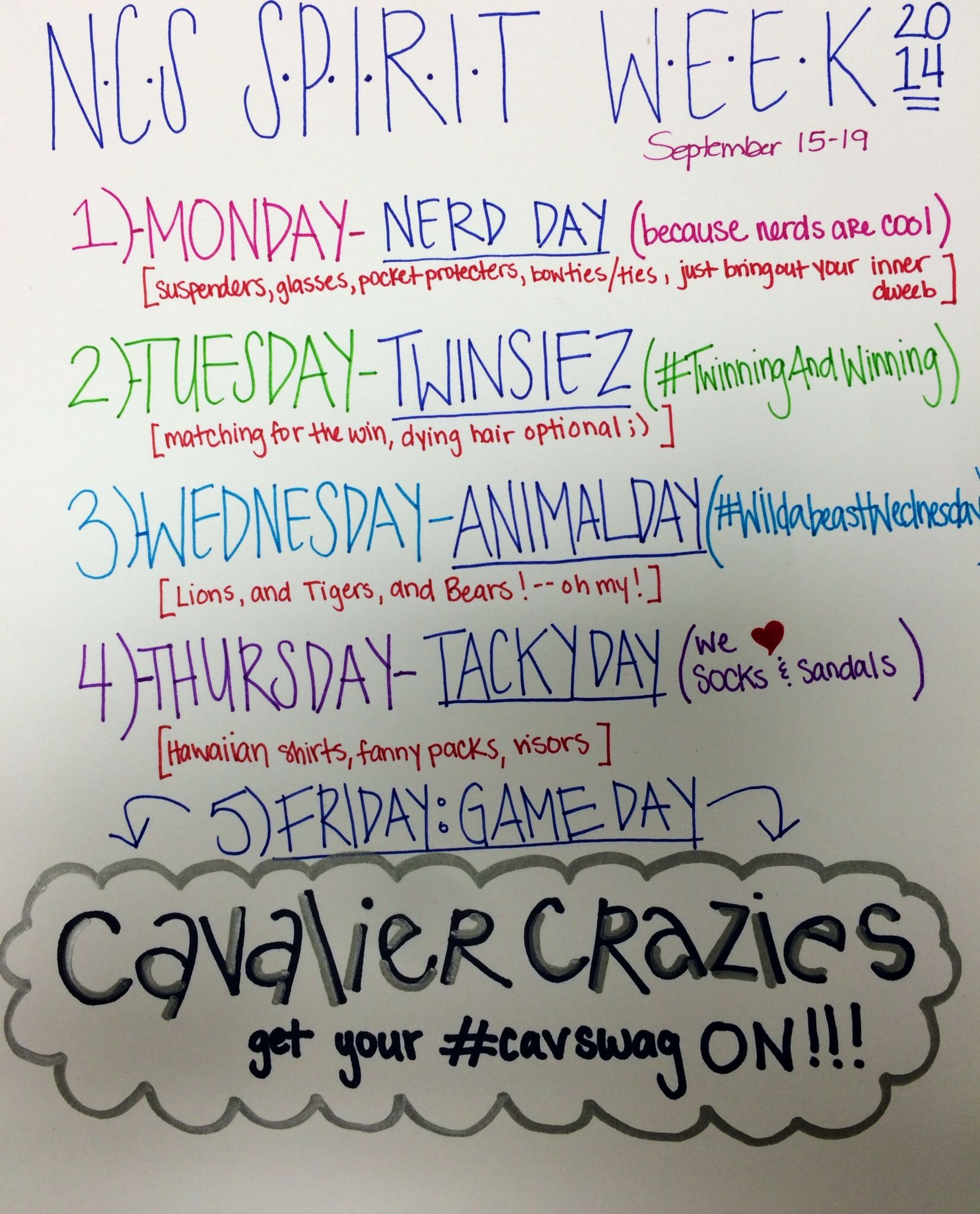 Image result for spirit week ideas School spirit week