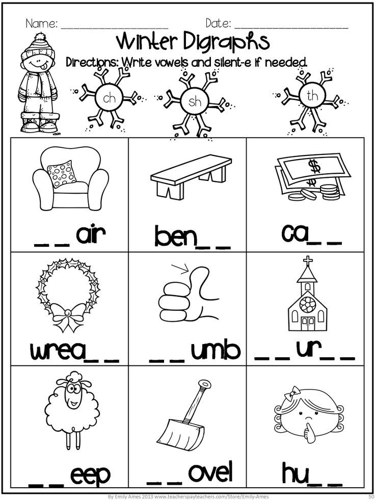 Printable Worksheets ch sh th worksheets : Winter Math and Word Fun Digraphs, addition, subtraction, blends ...