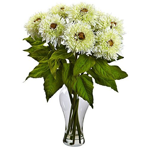 Nearly Natural 1360-WH Sunflower Arrangement with Vase, White