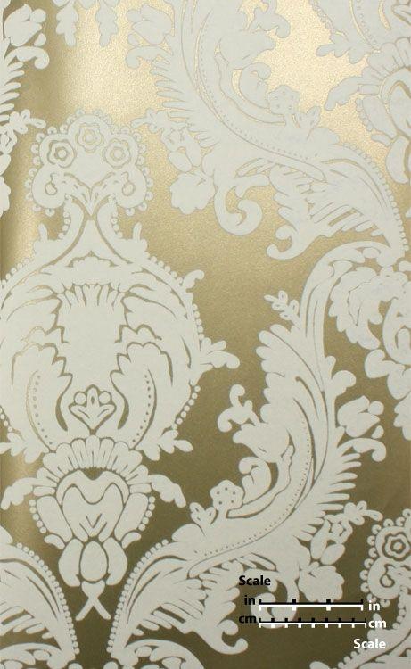 Plush Flocked Wallpaper Heirloom Damask Gold Leaf White Velvet Quartos