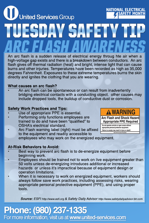 This week's Tuesday Safety Tip is about the Arc Flash