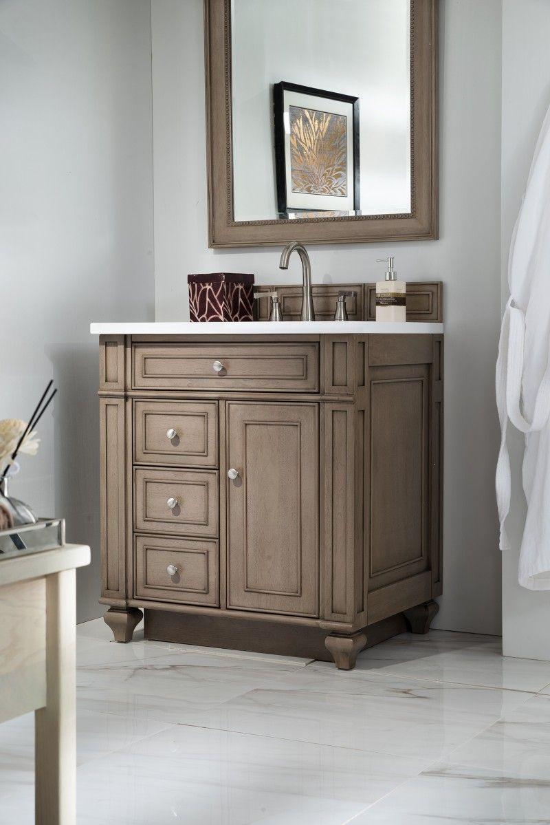 30 Inch Single Sink Bathroom Vanity Whitewashed Walnut Finish