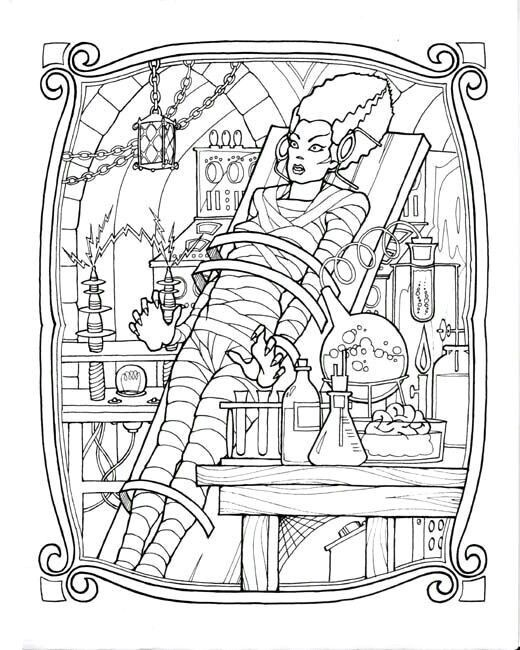 Bride Of Frankenstein. | Colouring Book Of Horror & Sci-Fi For Big ...