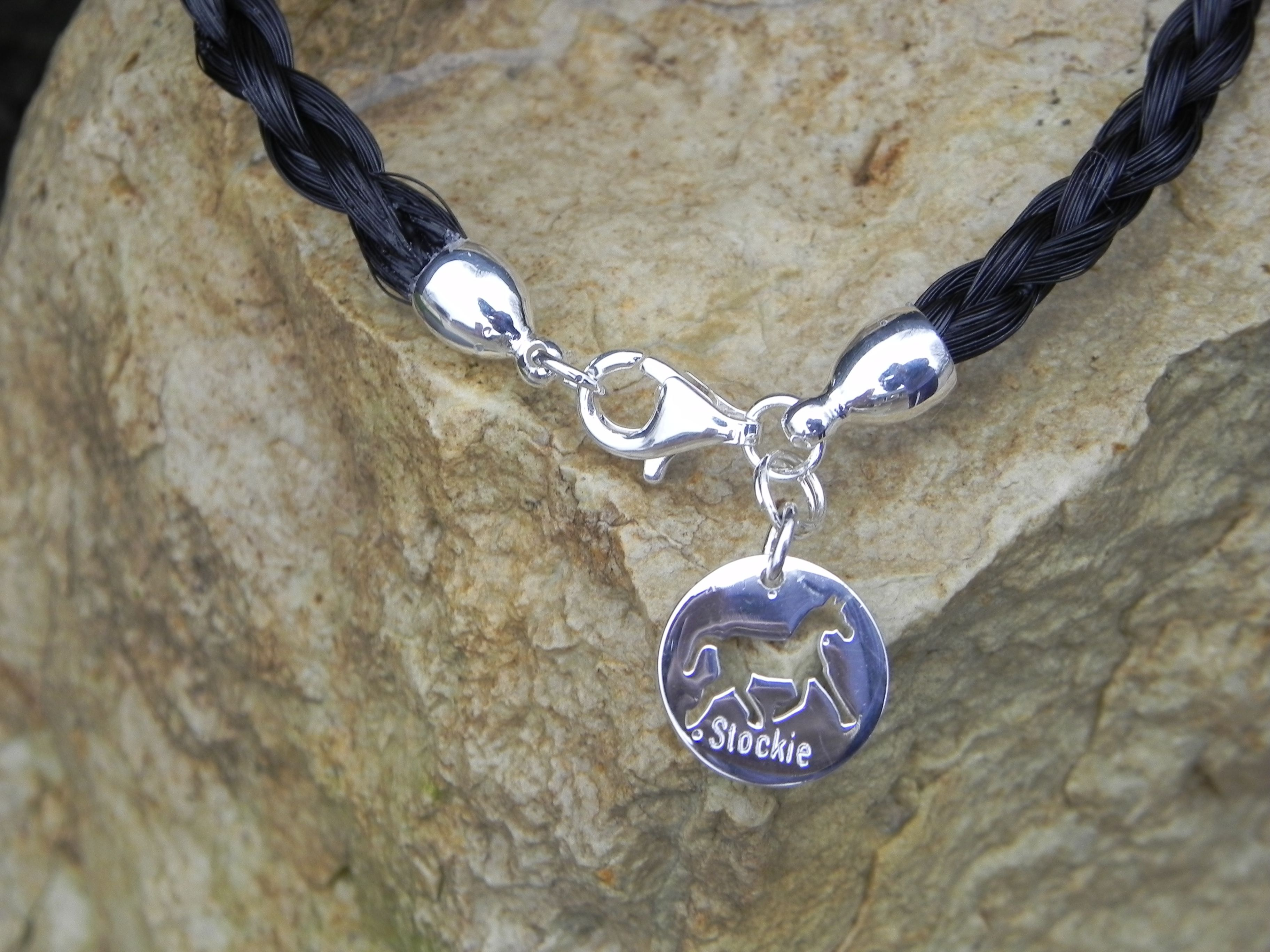 Horse Hair bracelet with a customized charm. Sterling Silver.