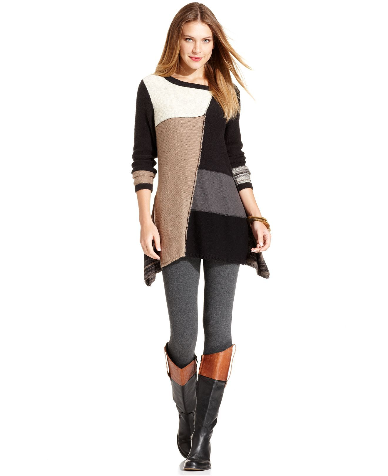 Style Sweater, Long-Sleeve Patchwork Asymmetrical-Hem Tunic - Womens Sweaters - Macy's