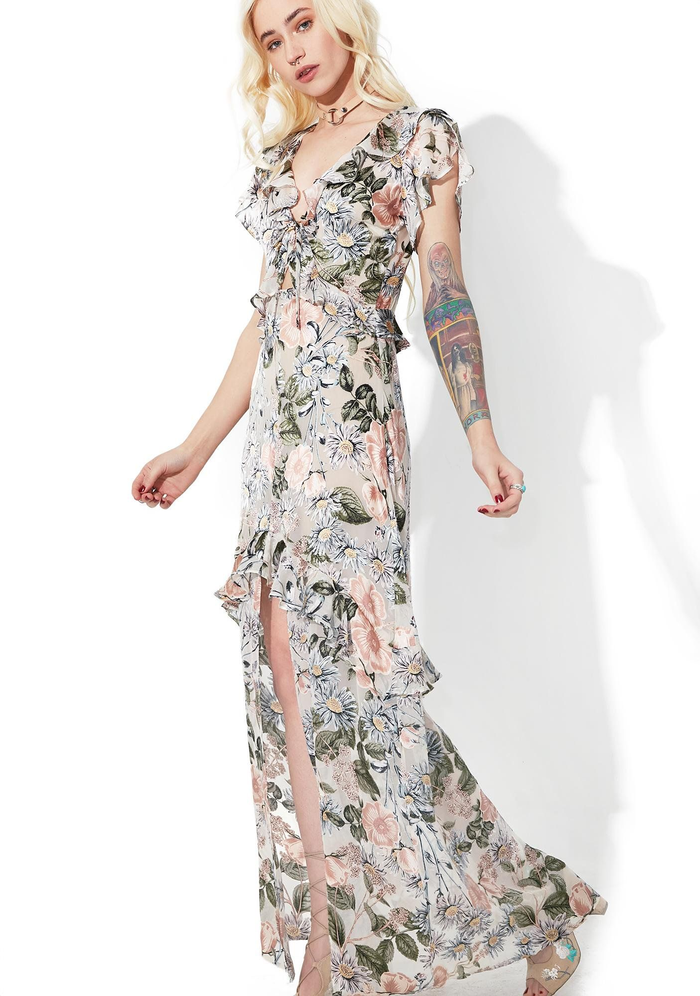 59f58119947b ... upon a time, there was a beautiful Doll….Tell yer own modern fairytale  with this whimsical maxi dress featuring front tie detailing, delicate  floral ...