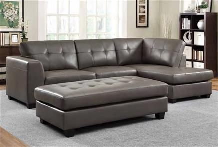 Springer Modern Grey Bonded Leather Sectional wOttoman Sectionals