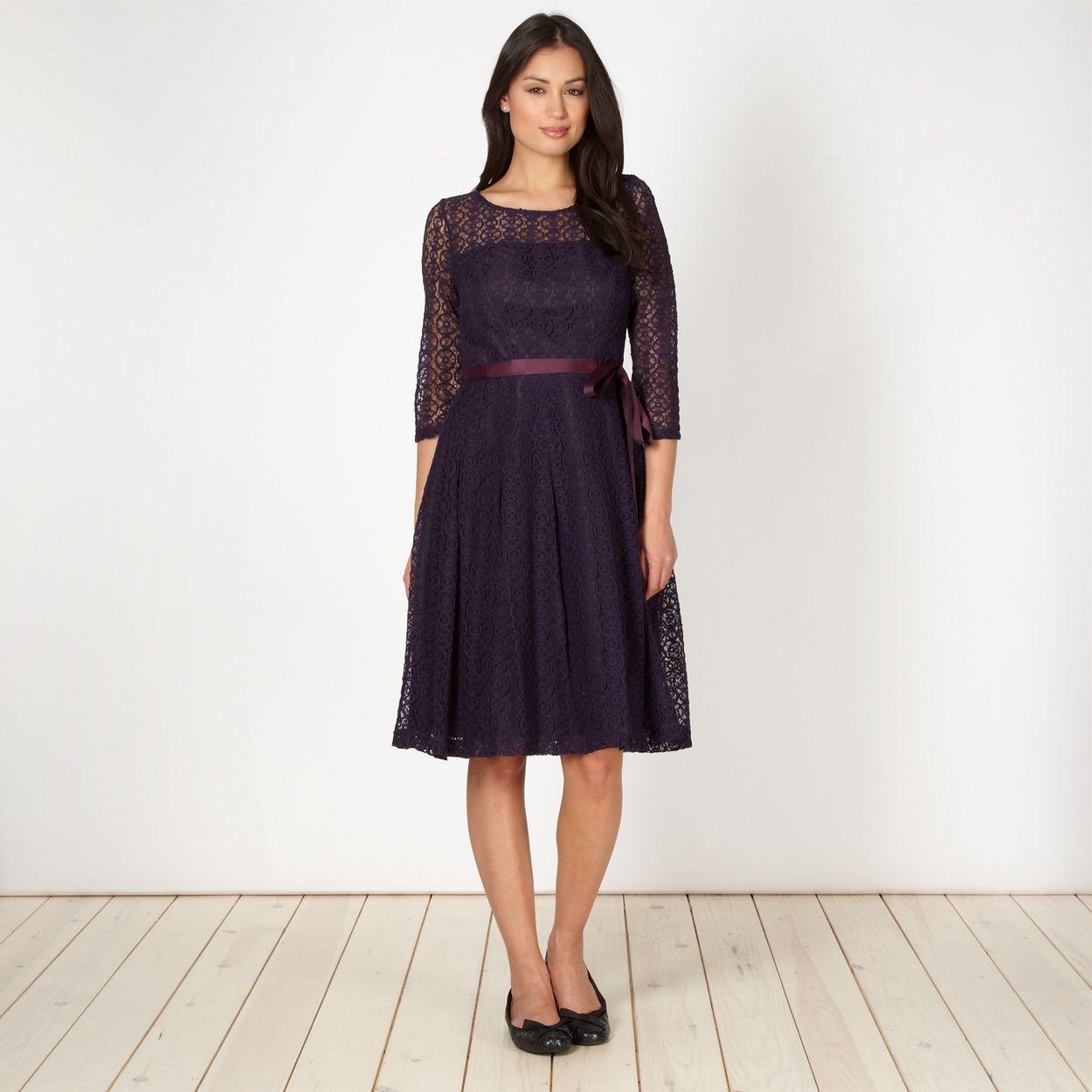 Betty jacksonblack designer dark purple lace prom dress at