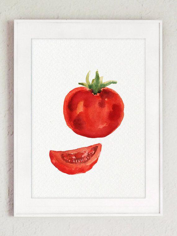 Concombre et tomate aquarelle peinture vert et rouge Art Print lot