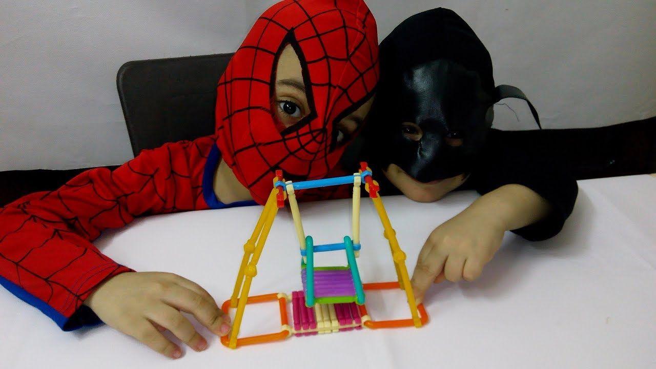 العاب البازل ستيك وتركيب المورجيحة لتنمية مهارات الاطفال Building Stic Spiderman Batman Spider