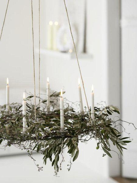 natürlicher minimalistisch moderner Adventskranz zum Aufhängen ...