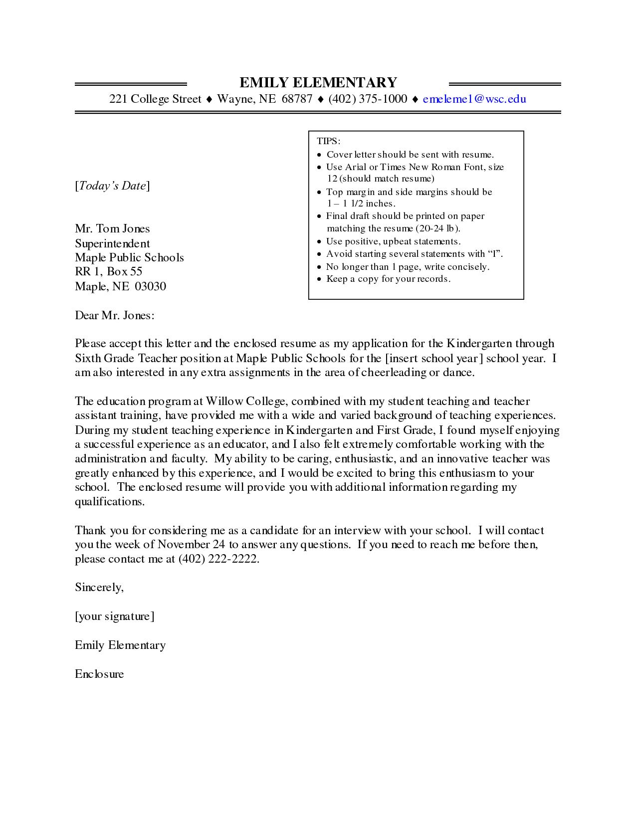 cover letter for teaching job