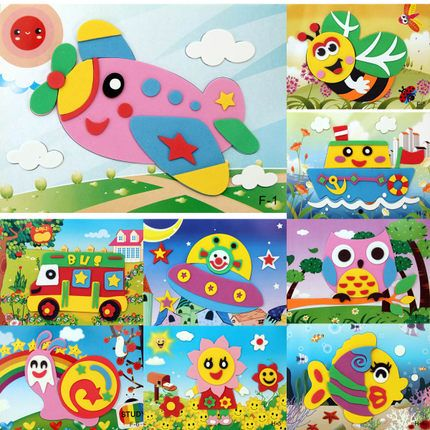 3D Eva Foam Puzzles Stickers Crafts Toy DIY Handmade Baby Kids Educational Toy X