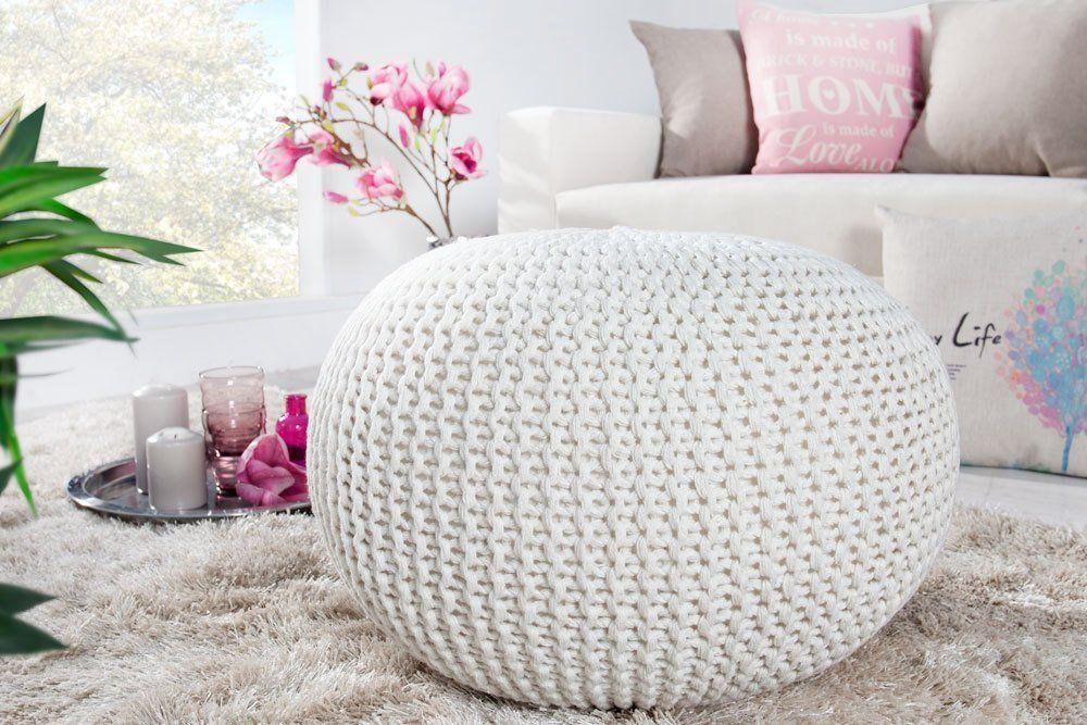 Design Pouf Leeds 50cm Weiss Bezug Aus Strick Garn Sitzgelegenheit Fusshocker Sitzpouf Amazon De Kuche Haushalt With Images Pouf Bean Bag Chair Crochet Pouf