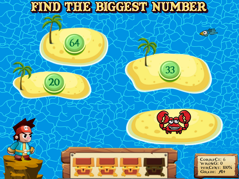 Help pirates find their lost treasure by solving math