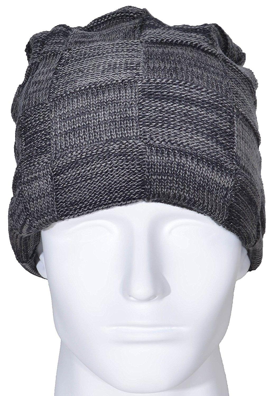 1925a7b234f Men Beanie Hat Winter Warm Wool Knit Slouchy Fleece Lined Skull Cap - Black  - CI189LHU89U - Hats   Caps