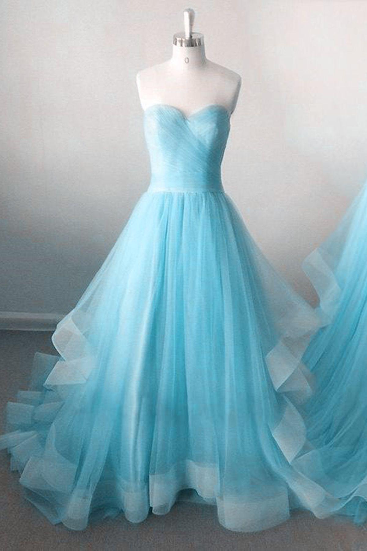 Beautiful blue tulle sweetheart dress for teens #promdress #dress ...
