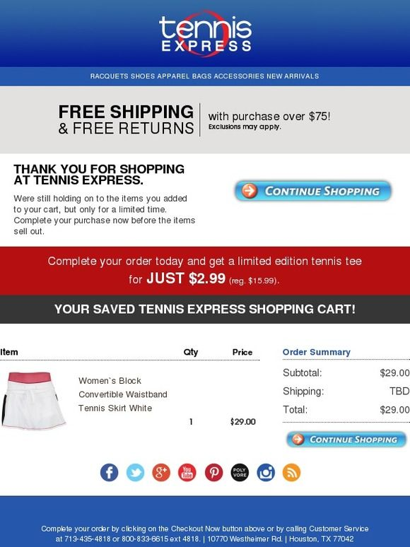 Did You Forget Something Tennis Express Email Auto Abandoned
