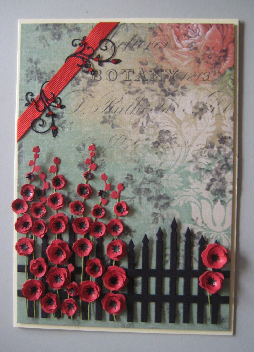 flowers Made in USA Impression Obsession HOLLYHOCKS thin metal die