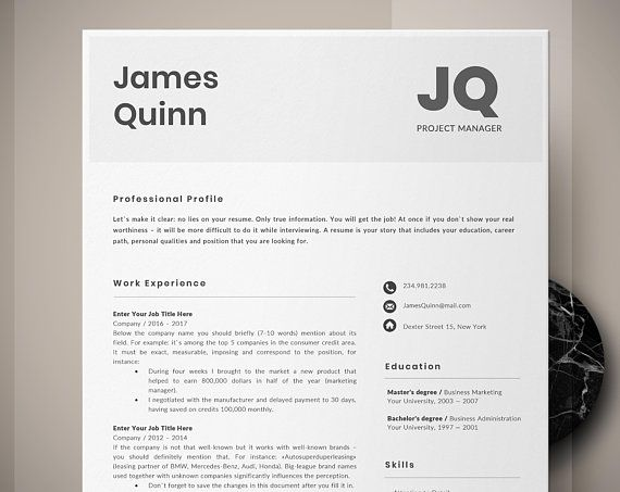 Instant Download Resume Template Word, Project Manager, Lawyer