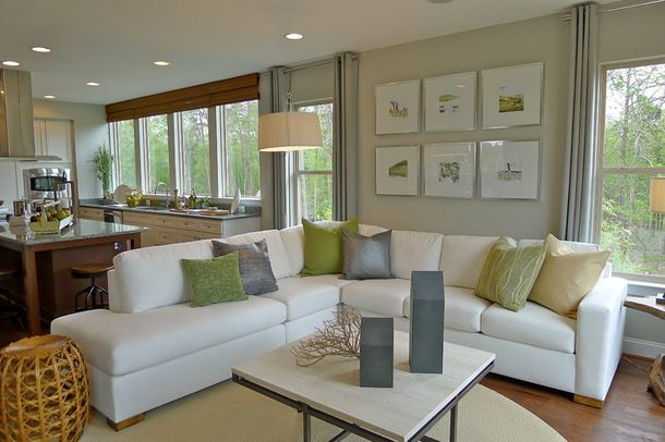 Sherwin Williams Roycroft Mist Gray  White Sectional Living Room Simple Light Colored Living Rooms Decorating Inspiration