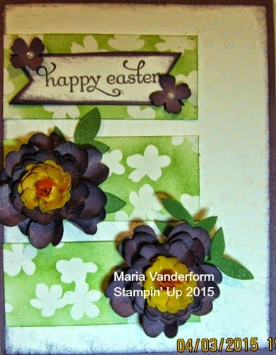 Crafty Maria's Stamping World  Easter card with hand made flowers