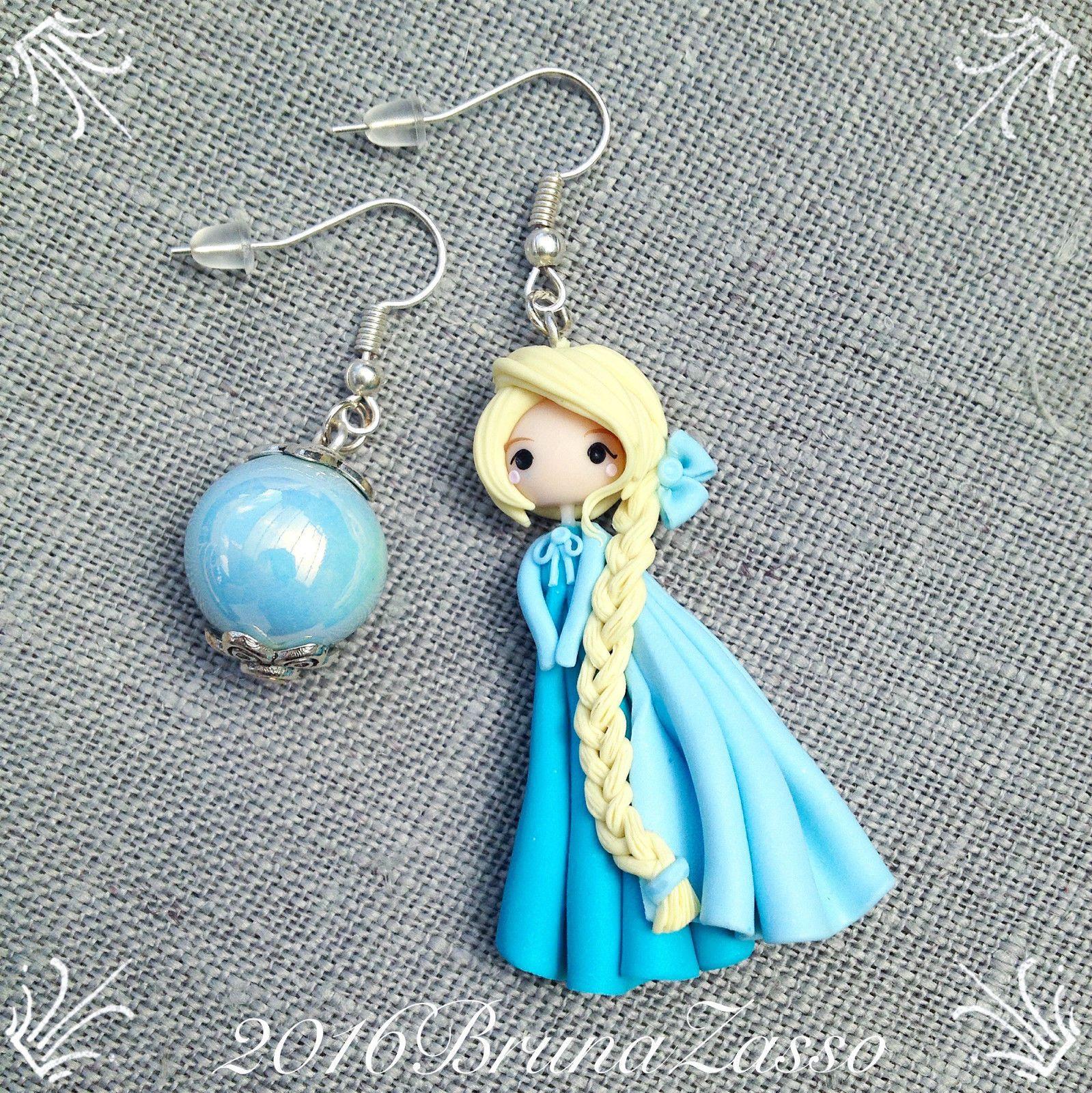 2020 vendita limitata miglior servizio Orecchini Elsa ~ Cute Frozen Disney Earrings Fimo Polymer ...