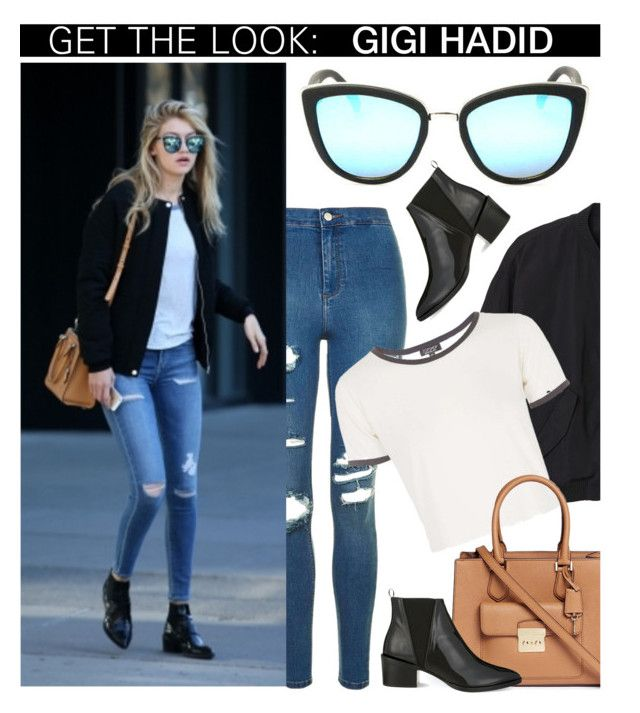 """Celebrity Look: Gigi Hadid"" by smartbuyglasses ❤ liked on Polyvore featuring Monki, Topshop, Quay, Michael Kors, Whistles, CelebrityStyle, gigihadid, quayaustralia and QuaySunglasses"