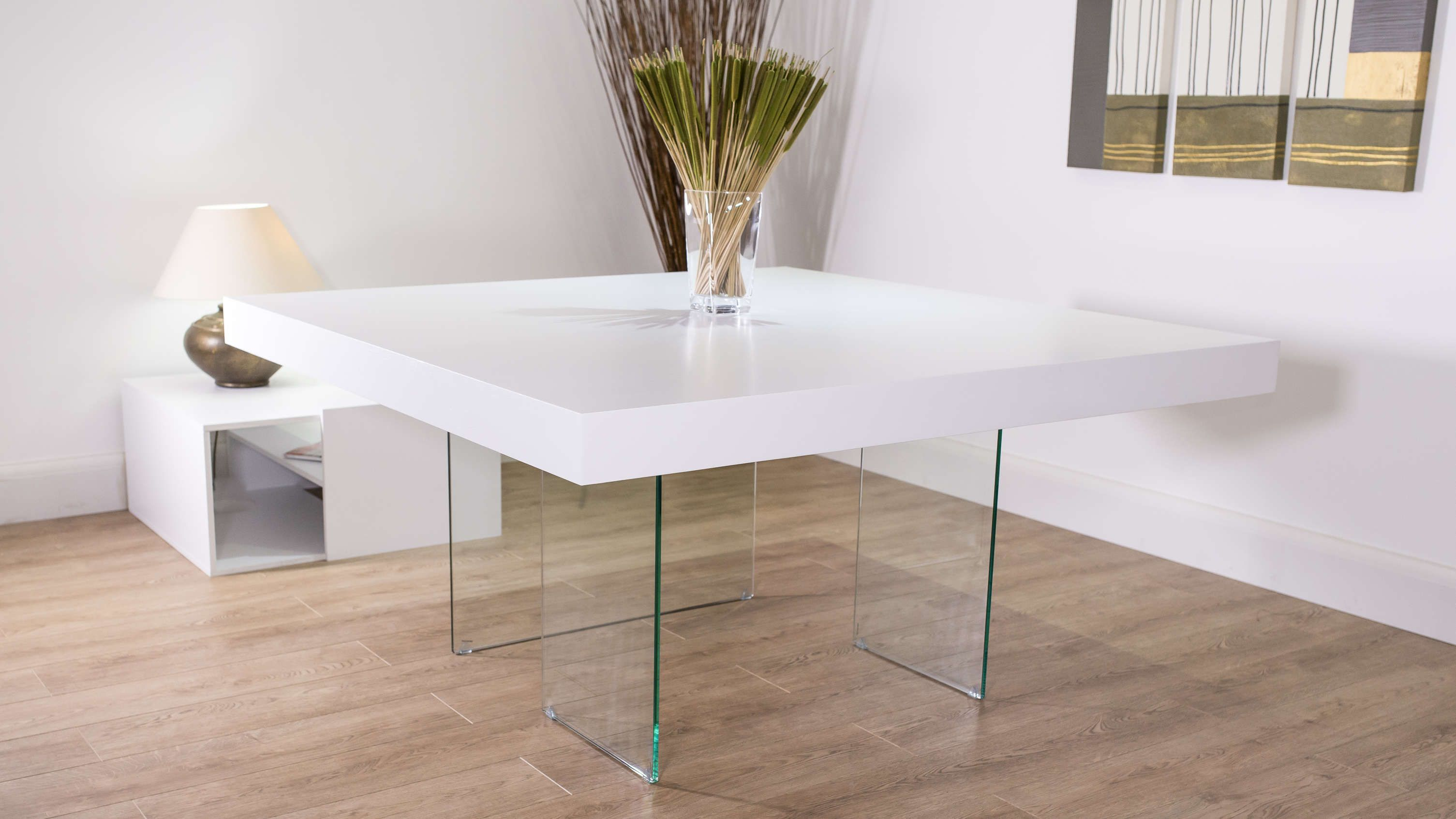White Oak Square Dining Table Glass Legs Seats 6 8 Modern Square Dining Table Square Dining Tables Oak Dining Table