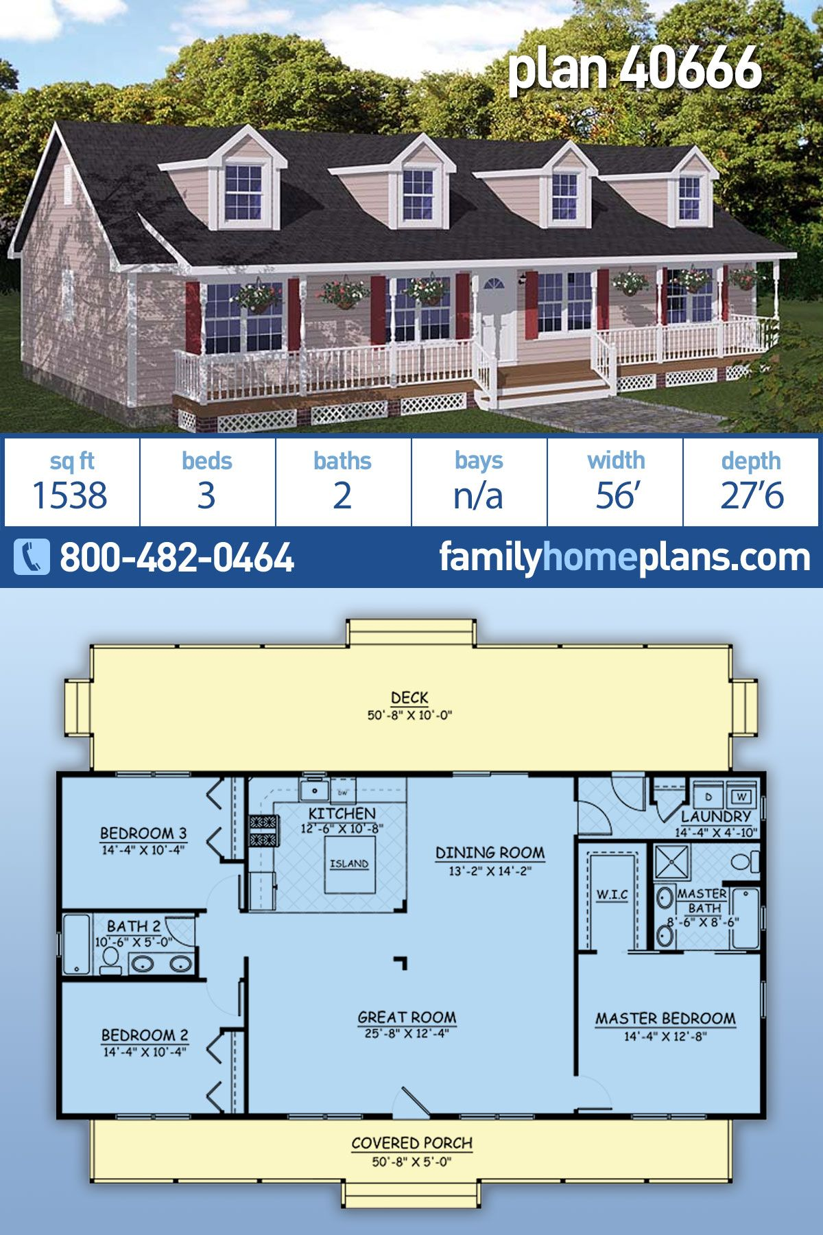 Southern Style House Plan 40666 With 3 Bed 2 Bath Affordable House Design Affordable House Plans Family House Plans
