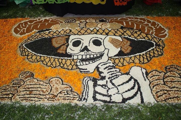 Skull mat made of seeds, beans, millet, oats, and wheat