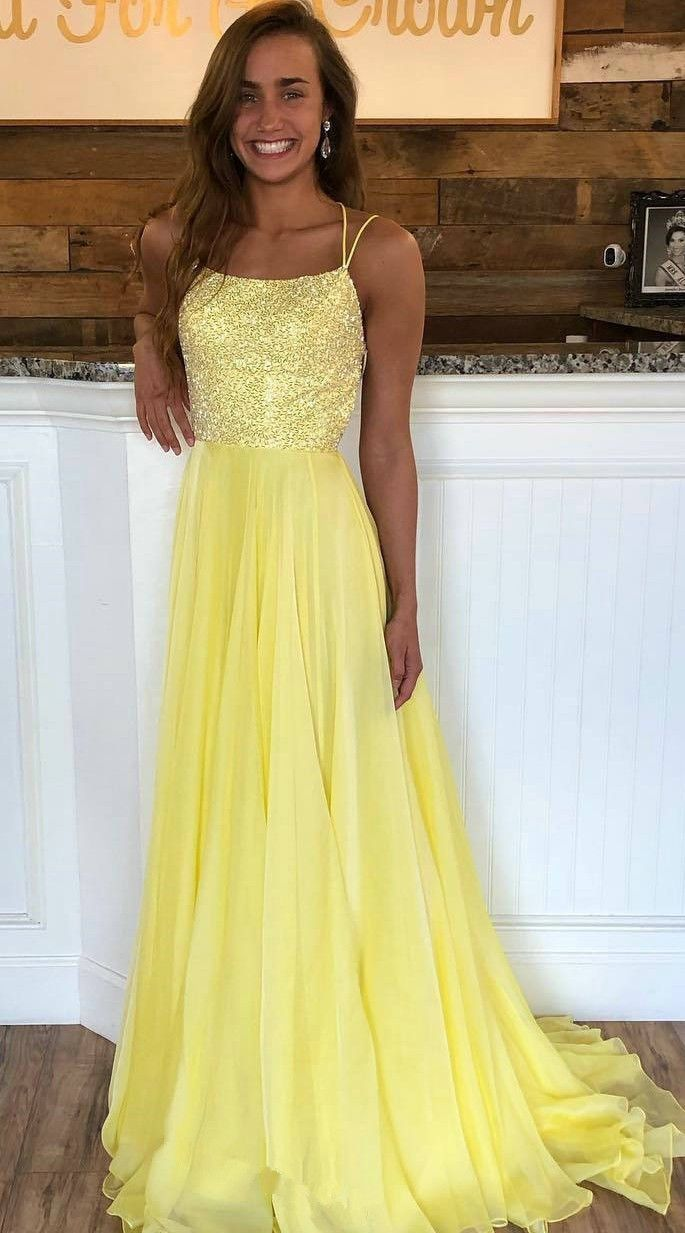 Two Straps Prom Dress,Yellow Prom Gown,Open Back Party Dress