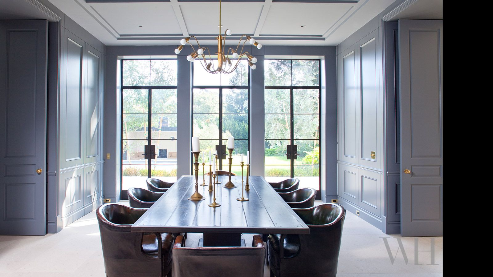 William Heffner timeless modern dining room - classic paneling, contemporary steel