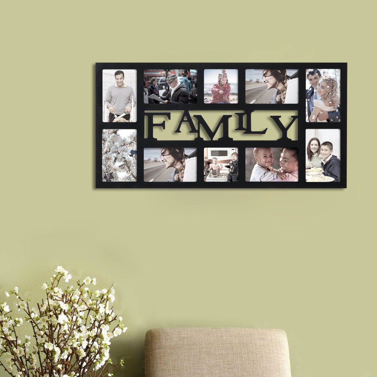 Adeco Family Black Wood 10 Opening Decorative Wall Hanging Collage Photo Frame Black Size Hanging Wall Decor Picture Frames Holiday Photo Frames