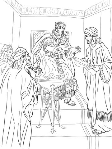 King Jehoiakim Burns Jeremiah S Scroll Coloring Page From Prophet