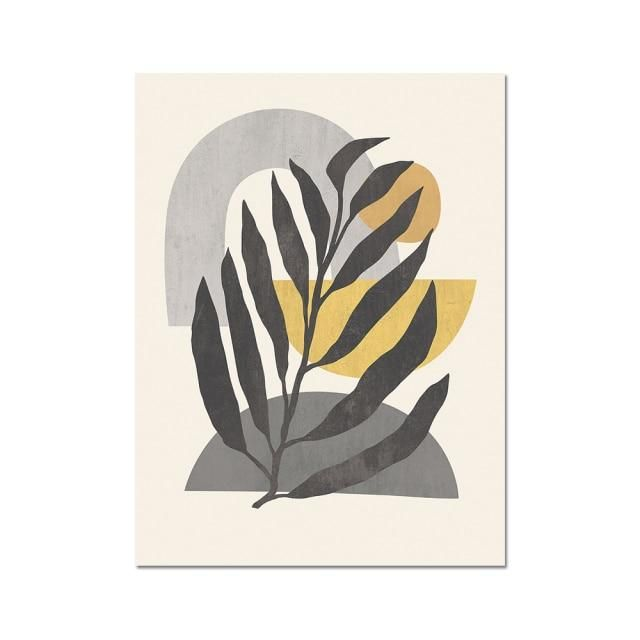 Photo of Boho Leaf Canvas – 30x40cm Poster / Yellow Boho Leaves A