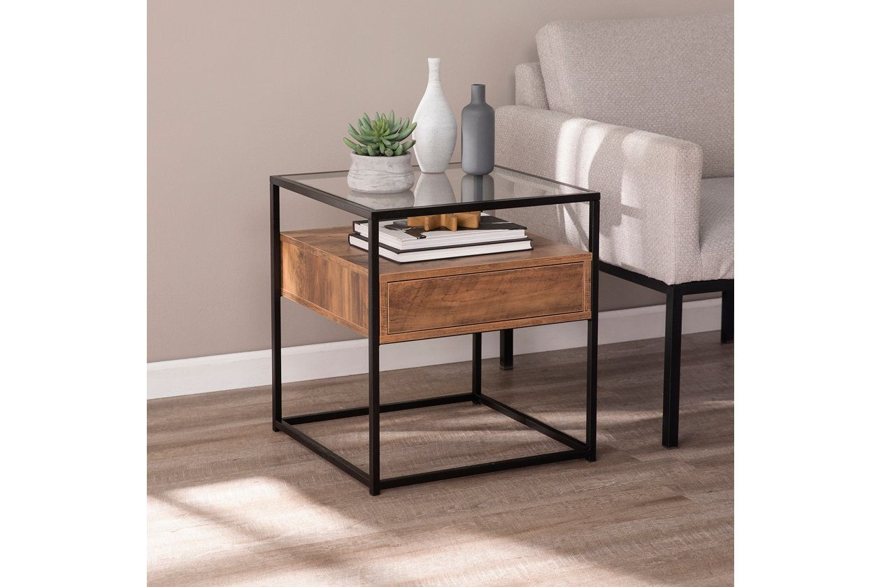Torden Glass Top End Table With Storage Ashley Furniture Homestore Living Room Side Table Table Decor Living Room Glass Top End Tables [ 840 x 1260 Pixel ]