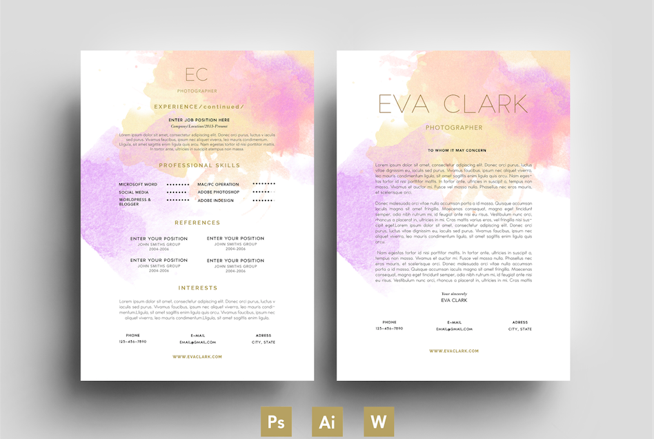 purpele  water color  cv  template by emily u0026 39 s art boutique on  creativemarket